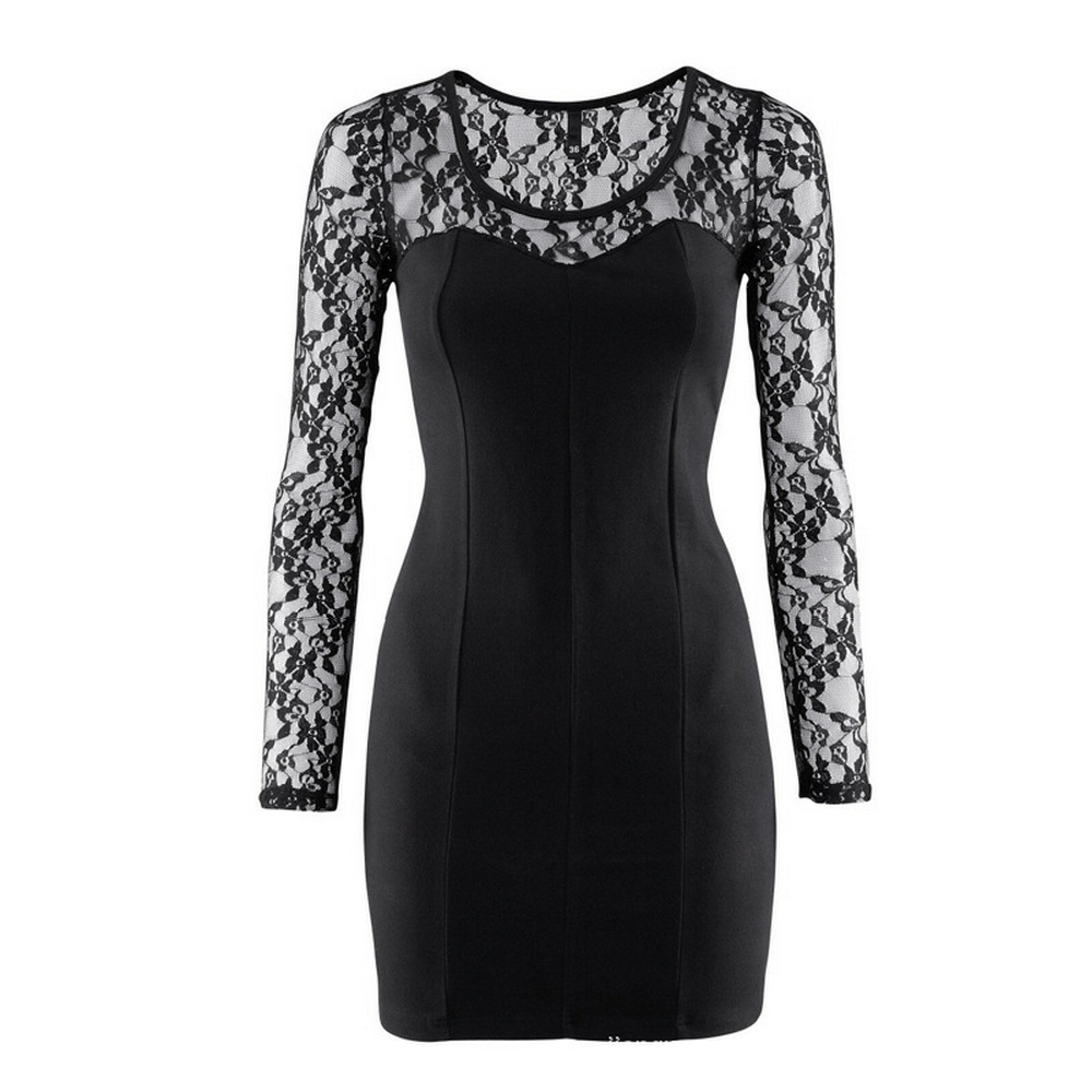 Sexy Long Sleeves Lace Sleeve and Shoulder Little Black ...