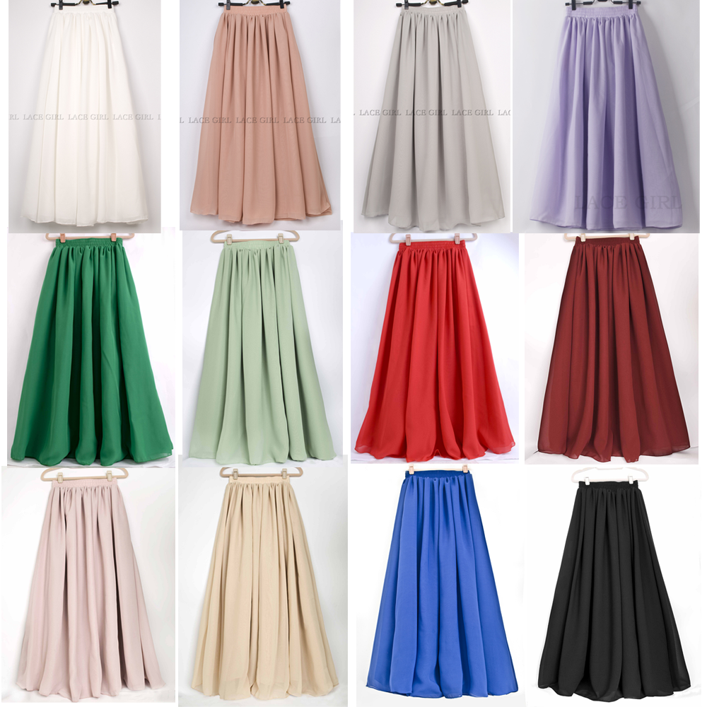 Solid Color High Waist Double Layered Full Length Pleated Long ...
